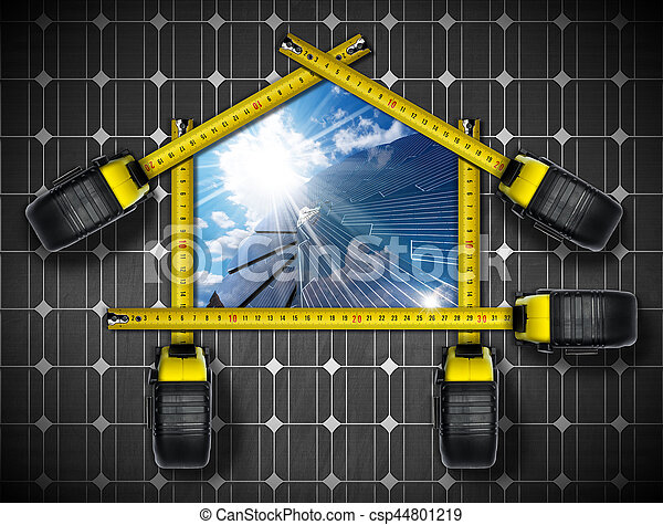 Tape measures in the shape of ecologic house with a solar panel, blue sky, clouds and sun rays. Concept of ecological house project
