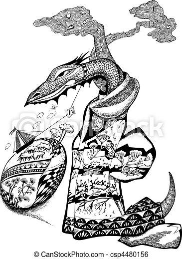 Fairy-tale dragon. - csp4480156