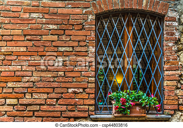 flowers on a window sill in Tuscany - csp44803816