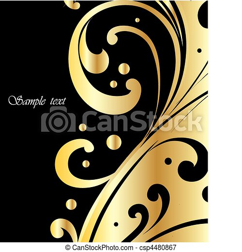 Elegant black and gold background, Vector - csp4480867