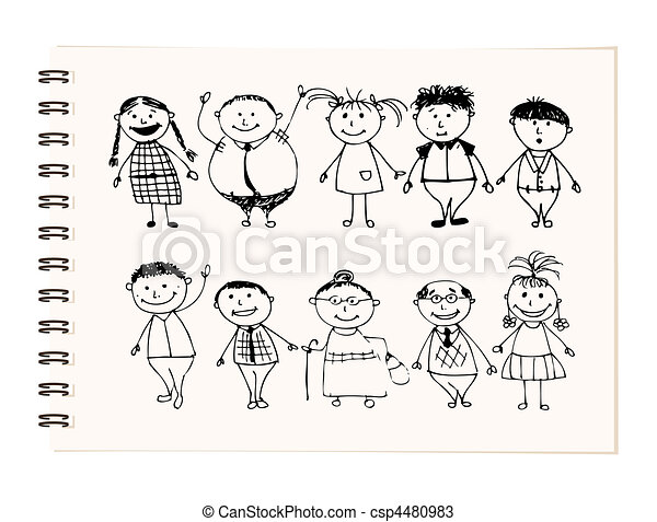 Happy big family smiling together, drawing sketch - csp4480983