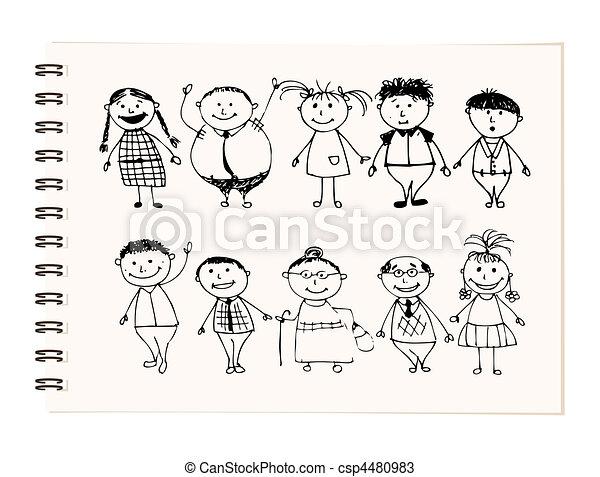 Vectores de feliz, grande, familia, sonriente, juntos, dibujo ...