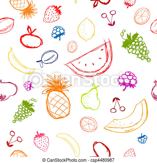 Fruits and berries sketch, seamless background for your design - csp4480987