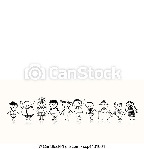 Happy big family smiling together, drawing sketch - csp4481004