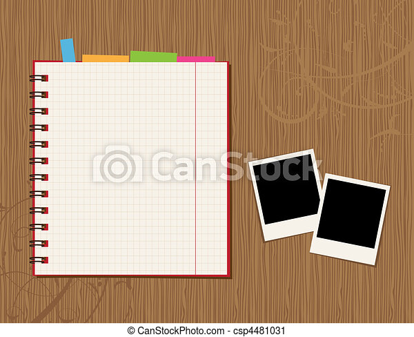 Notebook page design and photos on wooden background - csp4481031