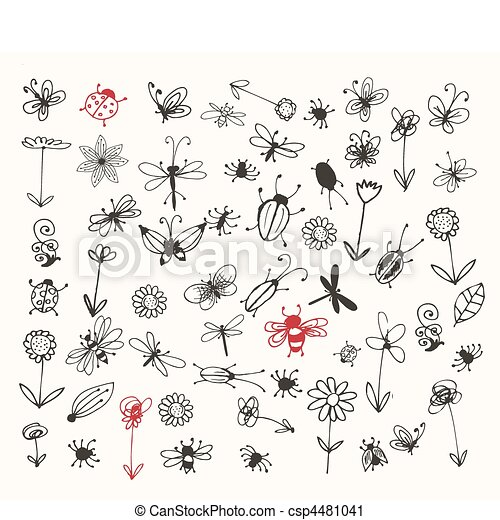 Insect sketch collection for your design - csp4481041