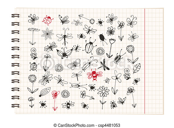 Insect sketch collection for your design - csp4481053