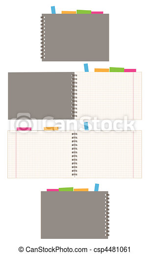 Notebook design, cover and open pages - csp4481061