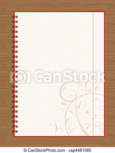 Notebook open page design on wooden background - csp4481065