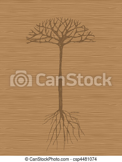 Art tree with roots on wooden background - csp4481074