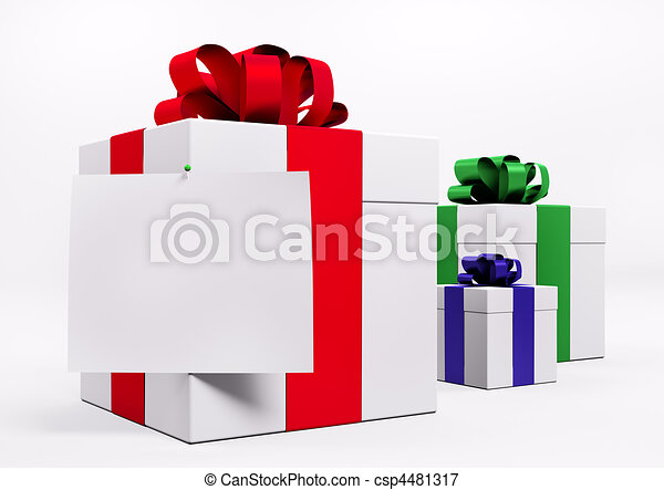 White gift boxes with red ribbon 3d - csp4481317