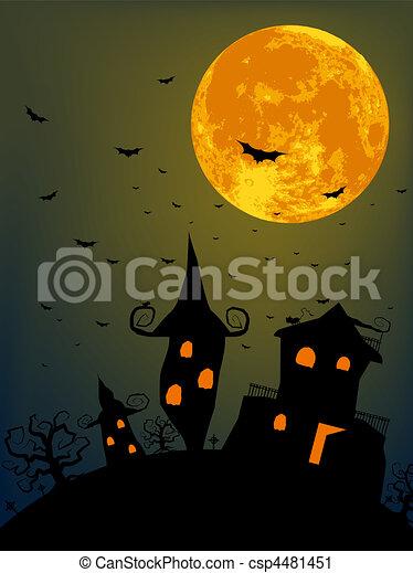 Halloween night with full moon - csp4481451