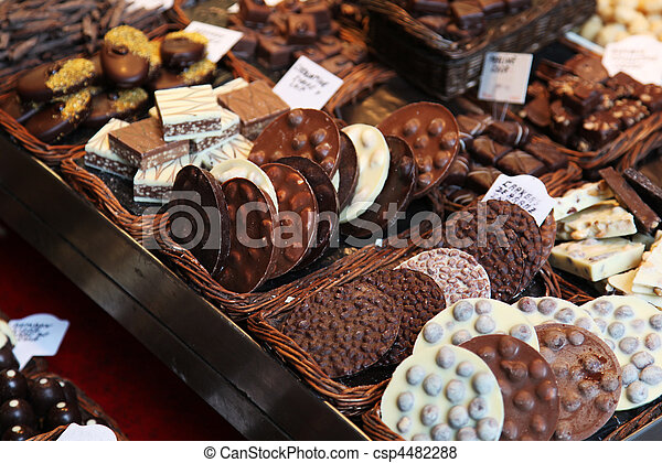 Various types of chocolate delicacies for sale - csp4482288