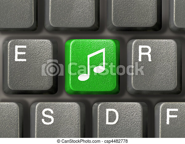 Computer keyboard with music key - csp4482778