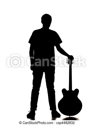 silhouette of a man playing guitar - csp4482832