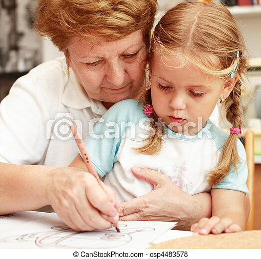 Grandma and grand-daughter painting - csp4483578