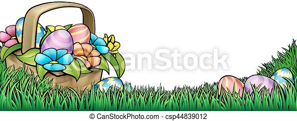 Vector Clip Art of Easter Egg Hunt Background - An Easter ...