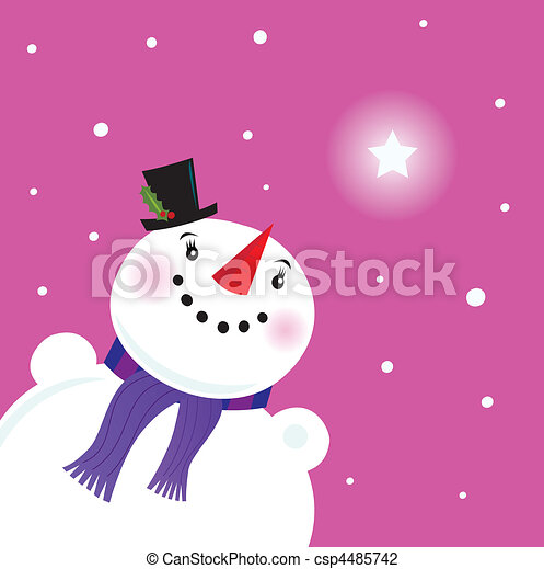 Happy Snowman lady looking at snow - csp4485742