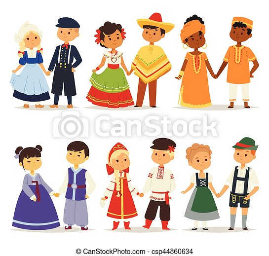 Traditional kids couples character of world dress girls and boys in different national costumes and cute little children nationality dress vector illustration. - csp44860634