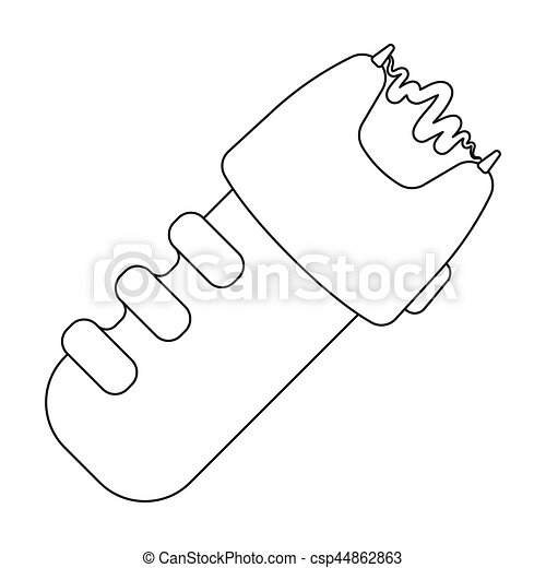Taser icon in outline style isolated on white background. Police symbol stock vector illustration. - csp44862863