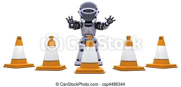 robot with traffic cones - csp4486344