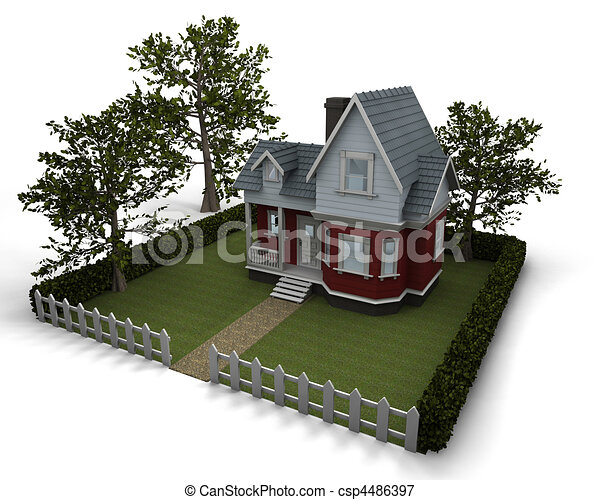 traditional timber house with garden - csp4486397