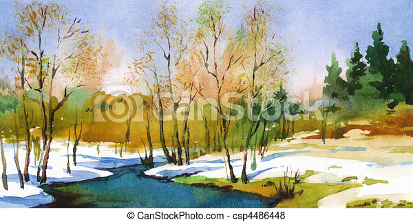 stock illustration of spring spring landscape in sunny God Bless Happy Birthday Quotes free happy birthday graphics clip art