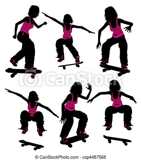 Female Skateboarder Silhouette - csp4487568