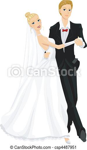 Clip Art Vecteur de danse, mariage - Romantique, image, de ...