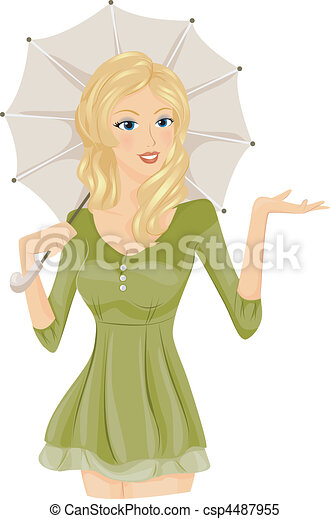 Woman with Umbrella - csp4487955