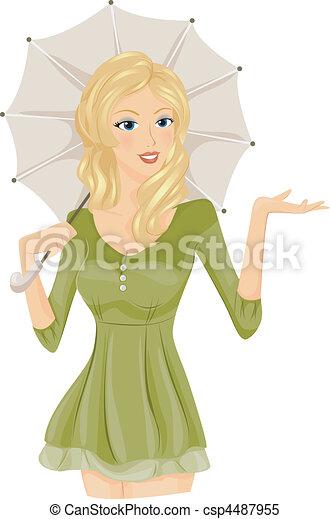 Woman with Umbrella - csp4487955