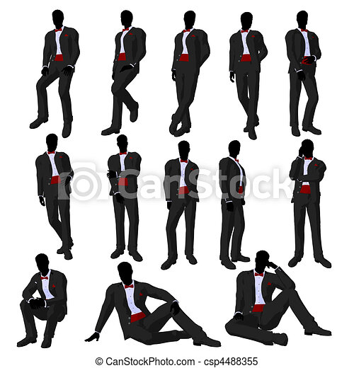 Wedding Groom in a Tuxedo Silhouette - csp4488355