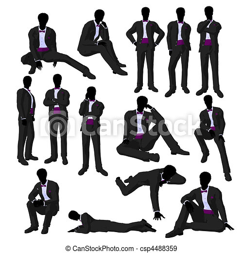 Stock Illustration of African American Wedding Groom in a Tuxedo ...
