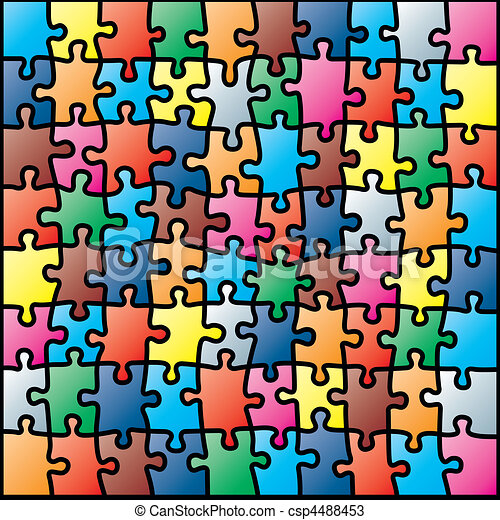 Jigsaw puzzle colorful pattern - csp4488453