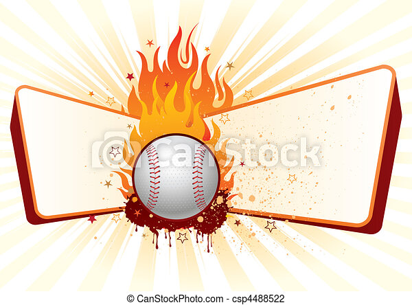baseball with flames - csp4488522