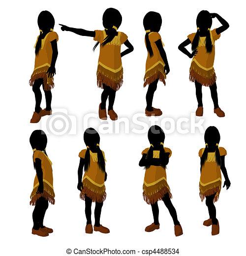 Native American Indian Art Illustration Silhouette - csp4488534