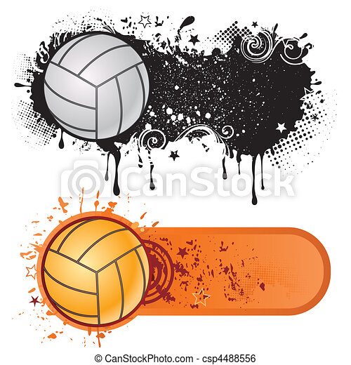 volleyball sport and grunge ink - csp4488556
