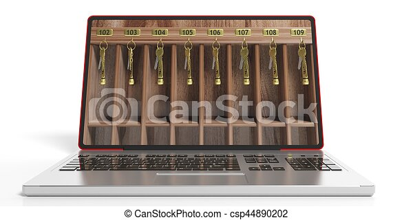 Hotel reception shelf and a laptop. 3d illustration - csp44890202