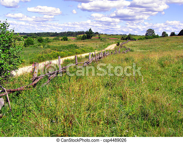 old fence near rural road     - csp4489026