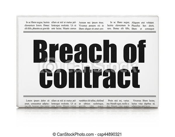 Clip Art Of Law Concept Newspaper Headline Breach Of Contract On