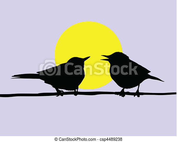 vector drawing two birds sitting on branch on background sun - csp4489238