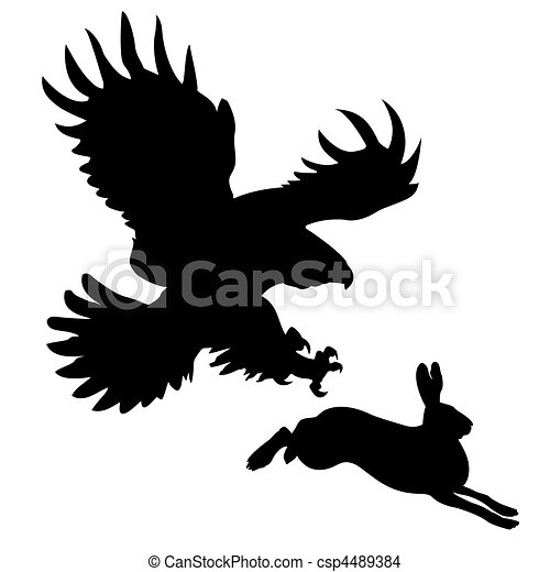 silhouette of the ravenous bird attacking hare - csp4489384