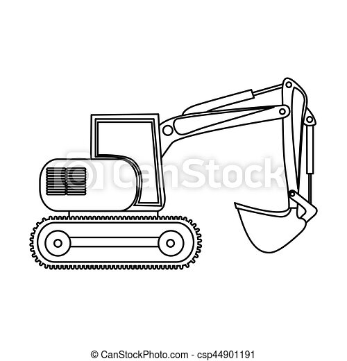 EPS Vectors of contour backhoe loader icon, vector illustration image ...