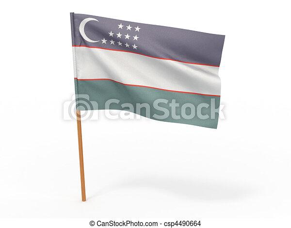 flag fluttering in the wind. Uzbekistan - csp4490664