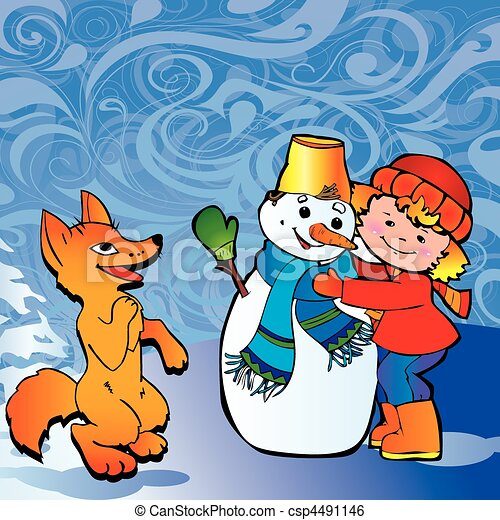 Girl with snowman and fox.  - csp4491146