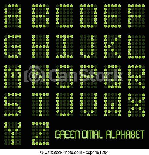 デジタル, アルファベット - csp4491204 イメージ, 緑, デジタル, アルファベッ