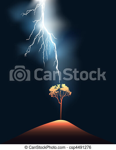 Lightning stroke in a lonely tree - csp4491276