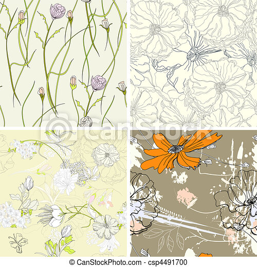 set of floral seamless wallpaper  - csp4491700