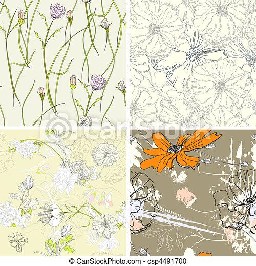 set of floral seamless wallpaper - csp4491700
