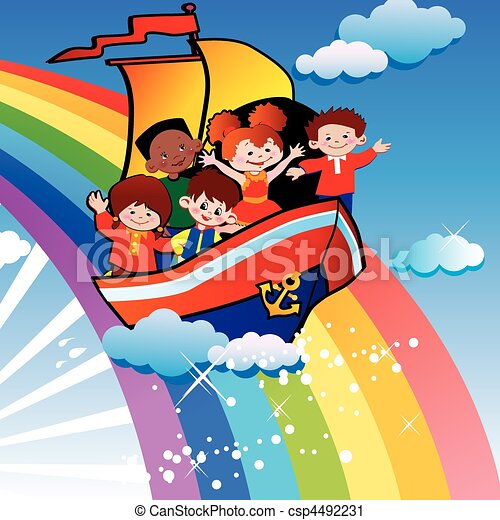 Children floating over the rainbow. - csp4492231